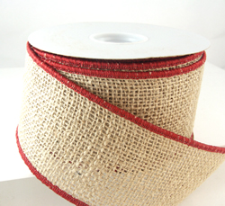 Wired classy red edging burlap christmas ribbon