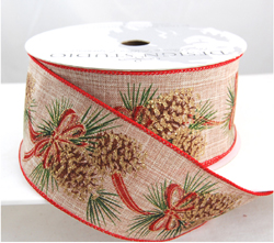 wired poly burlap christmas ribbon with pinecones and red green and gold accents 2 12 or 40 50 yards - Burlap Christmas Ribbon