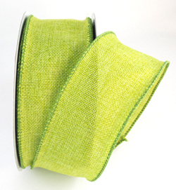 wired burlap bright lime green poly ribbon